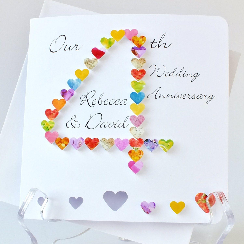 Handmade 3D 4th Wedding Anniversary Card, Personalised