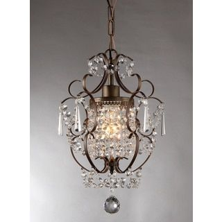Warehouse Of Tiffany Rosalie 1 Light Antique Bronze 11 Inch Crystal Chandelier Brown