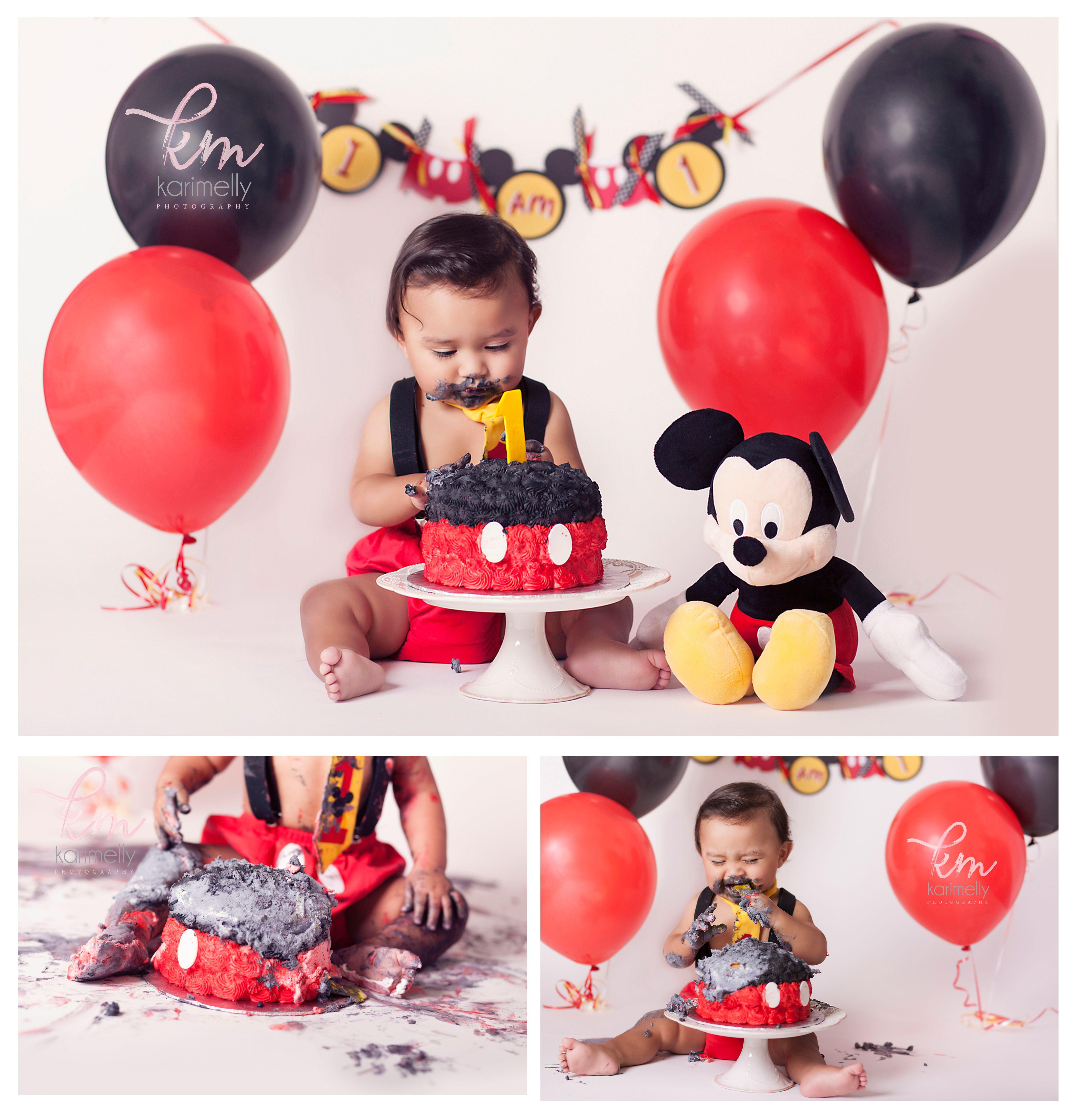 mickey mouse themed cake smash Cake smash photo sessions