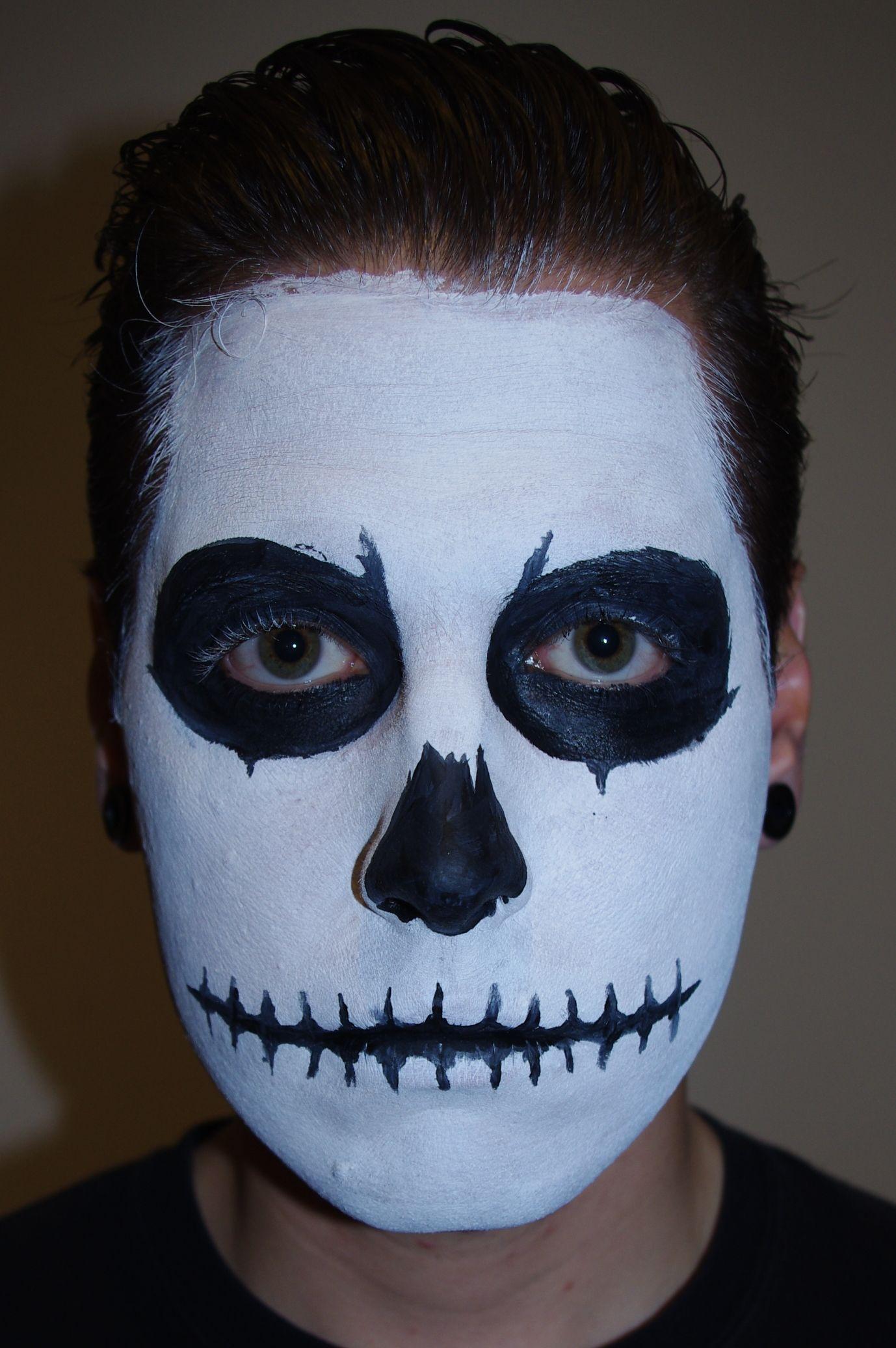 Halloween Skull Face Paint Makeup Tutorial Skull face