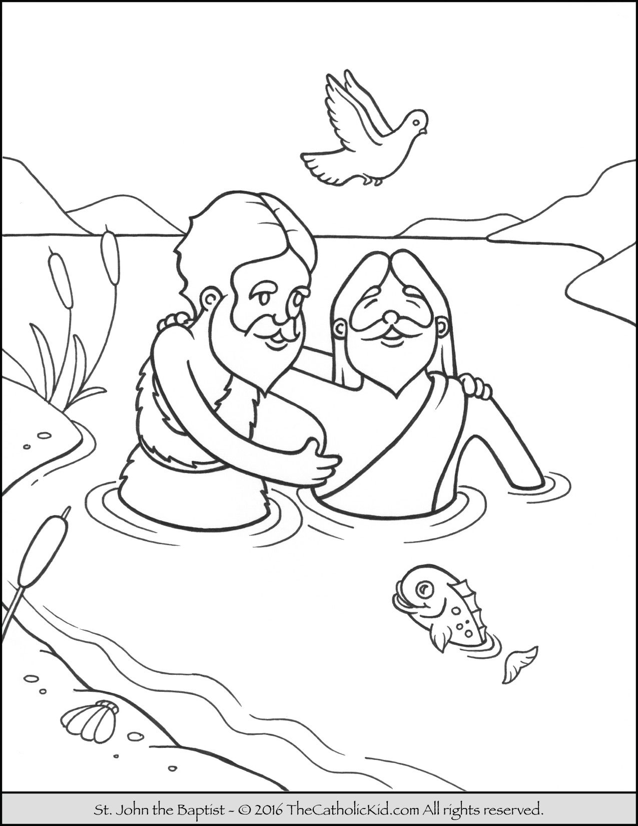 Saint John The Baptist Jordan River Coloring Page Cartoon