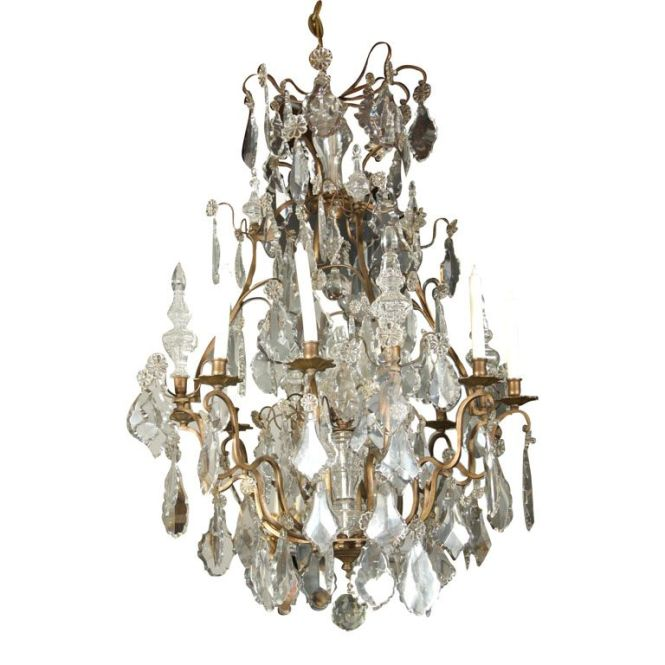 Louis Xv Style Bronze And Crystal 8 Light Chandelier From A Unique Collection Of Antique