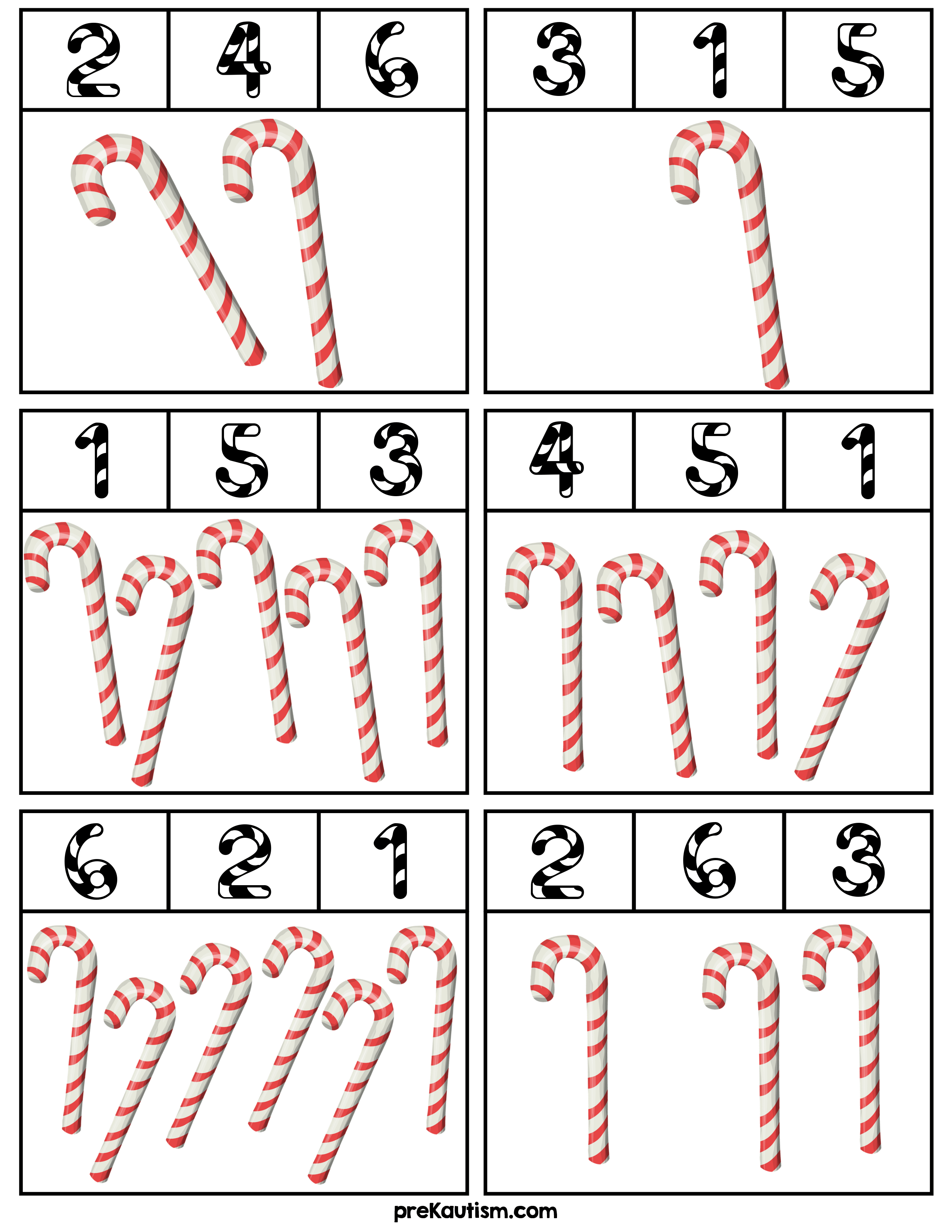 Candy Cane Counting Clip Cards