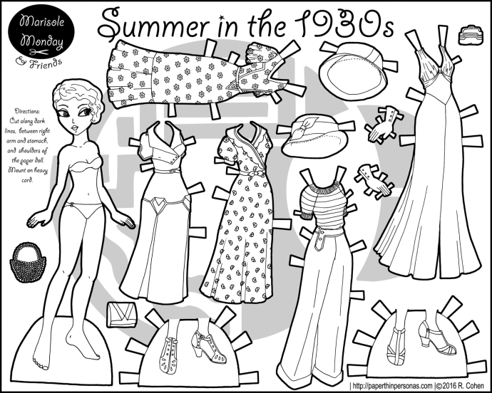 A Paper Doll Coloring Page Celebrating The 1930s With Five Piece Wardrobe Hats And