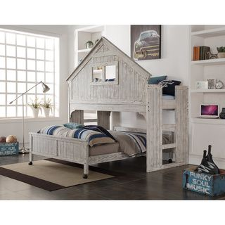 This Is Such A Cool Kid S Bed Would Love To Find Plans Build Something Like Donco Kids Brushed Driftwood Finish Club House Low Loft With Full Size