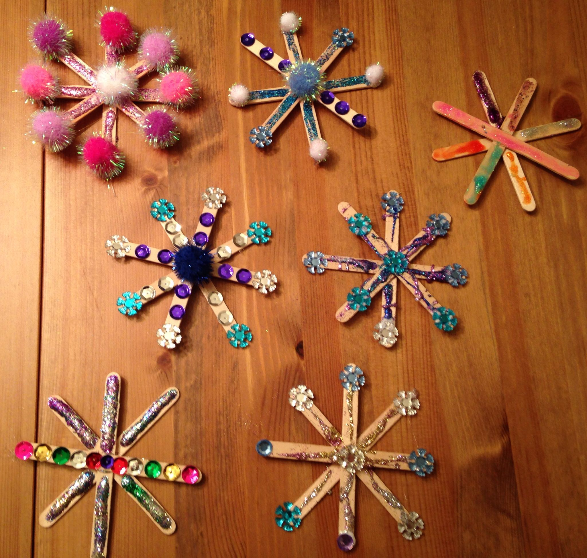Popsicle Stick Snowflake Craft