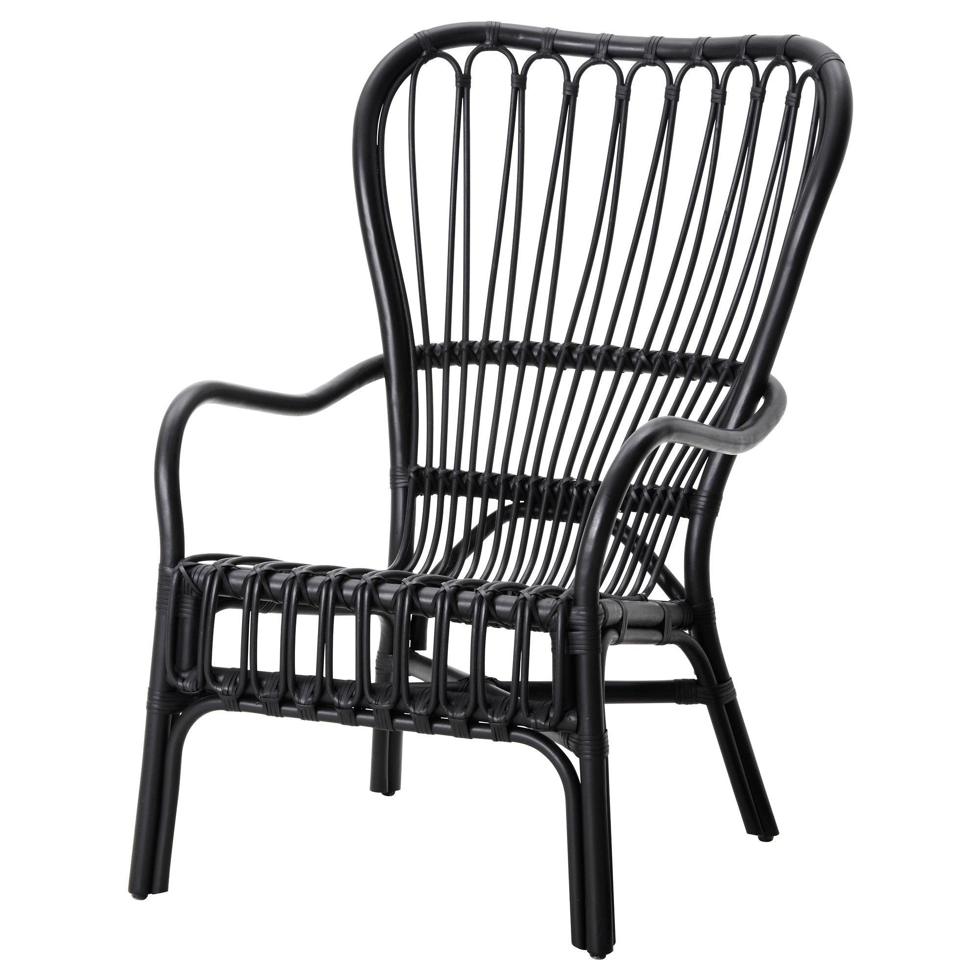 STORSELE Armchair, black, rattan Armchairs, Rattan and Porch