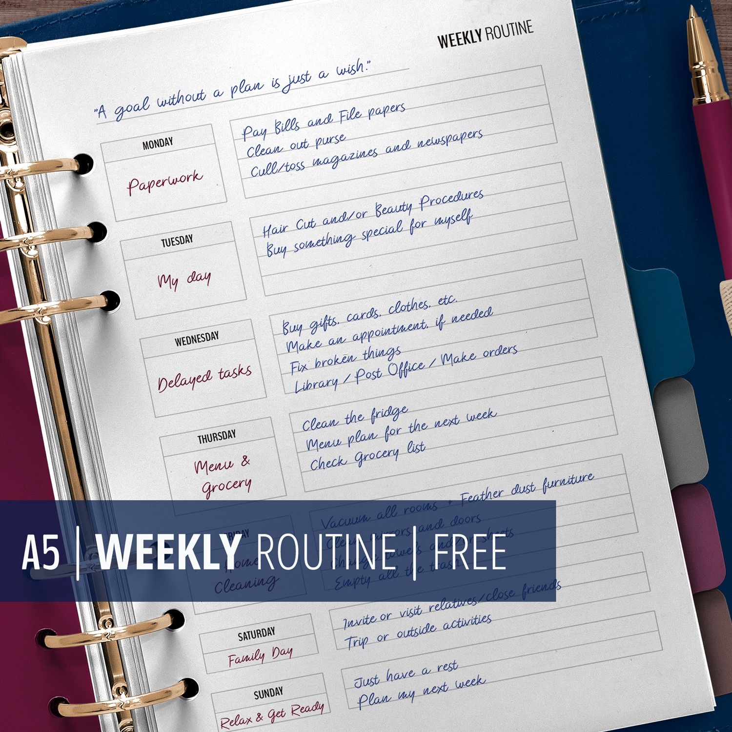 Weekly Routine Printable A5 Planner Insert For Flylady S