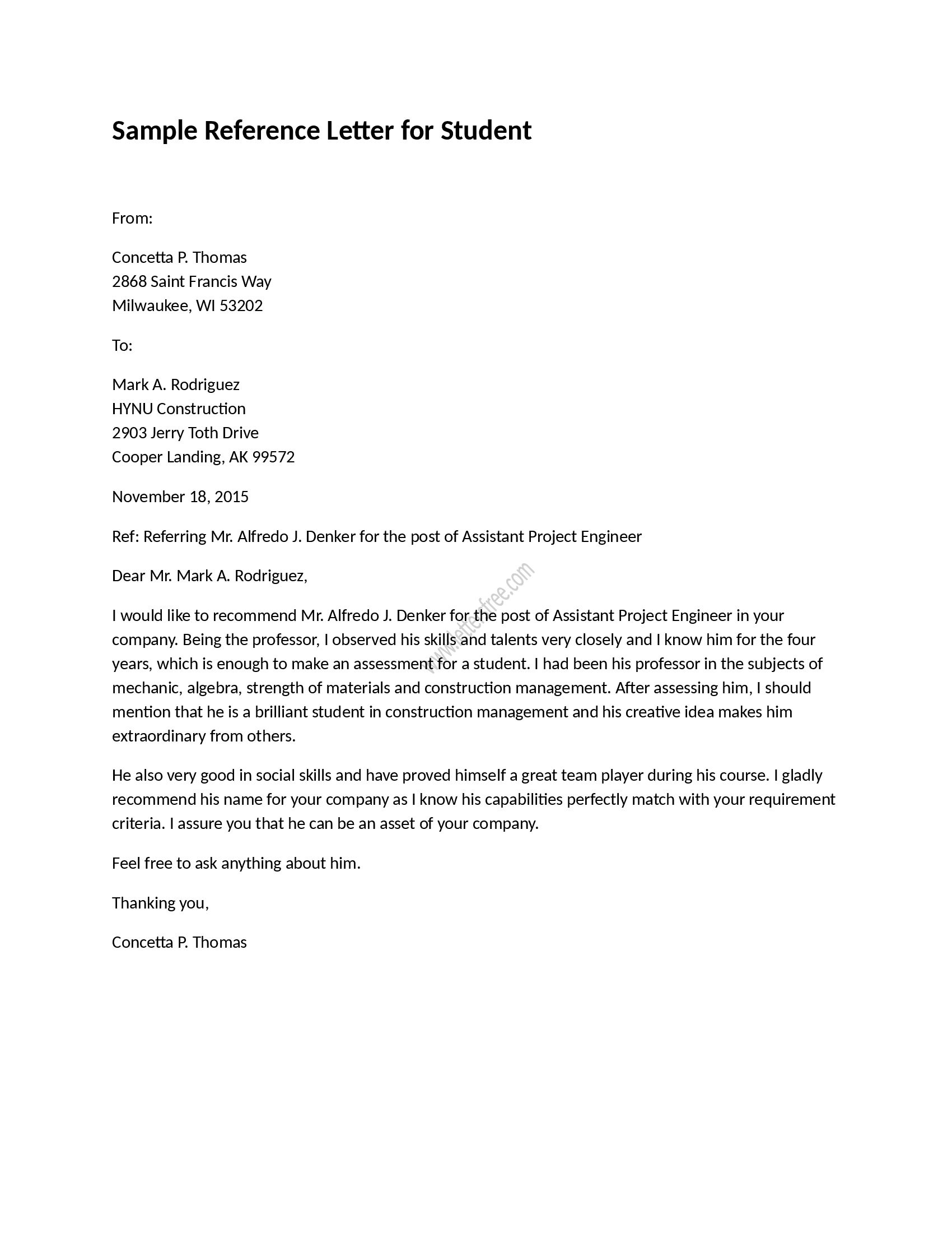 Sample reference letter for student is written to refer a