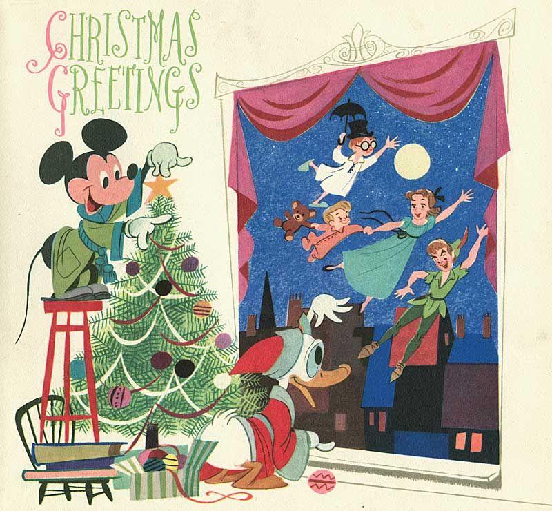50s Disney Xmas Cards Disney Christmas Ideas Pinterest