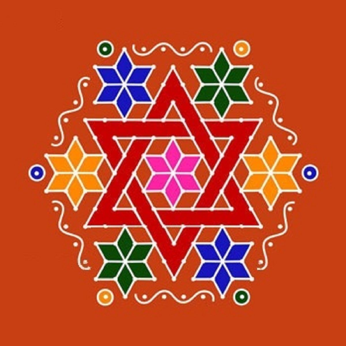 Star dot rangoli design Rangoli Designs Pinterest
