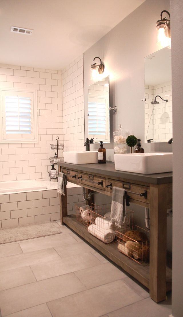 Bathroom Remodel Restoration Hardware Hack mercantile console