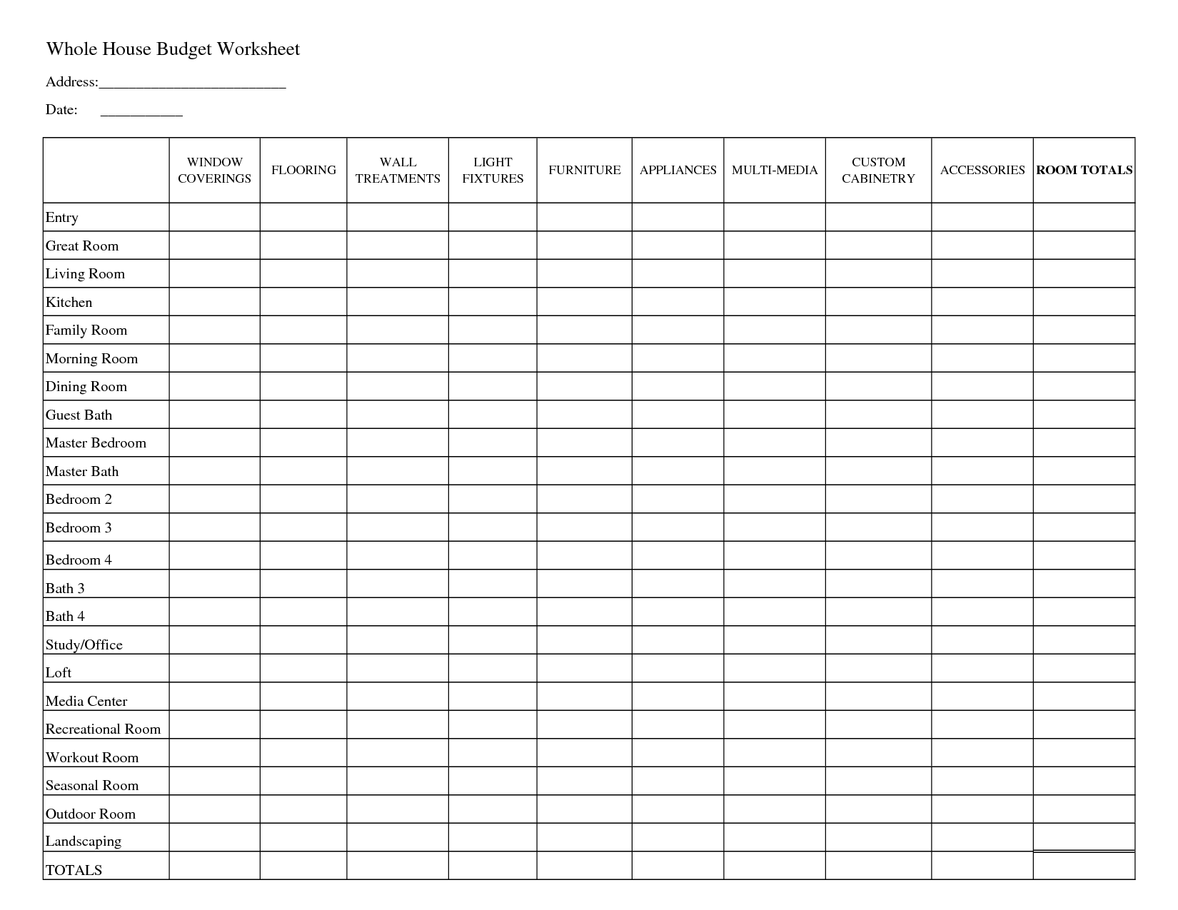 Excel Templates Printable Household Budget Worksheets