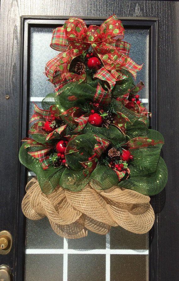 Christmas Tree Wreath Deco Mesh Christmas Tree Wreath By