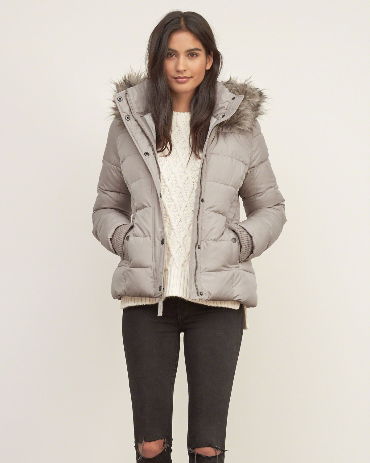Womens A&F Premium Puffer Jacket Womens Outerwear
