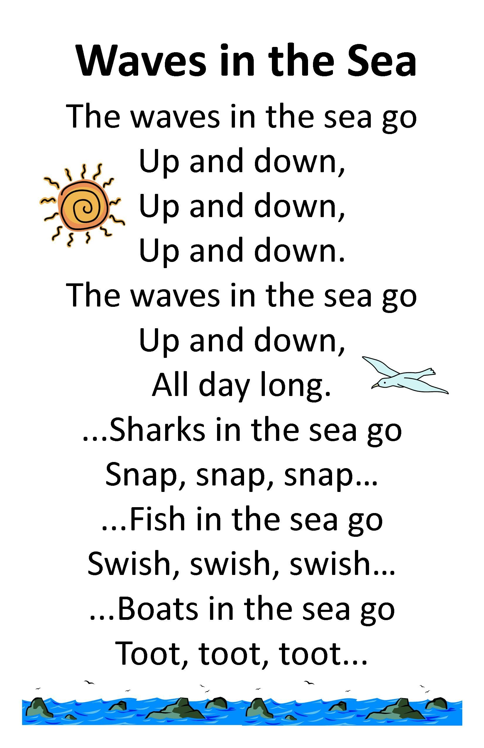 Itty Bitty Summer Tots Amp Tykes Rhyme Wave In The Sea