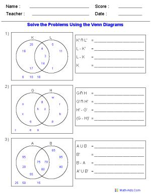 Venn Diagram Worksheets  Set Notation Problems Using Two