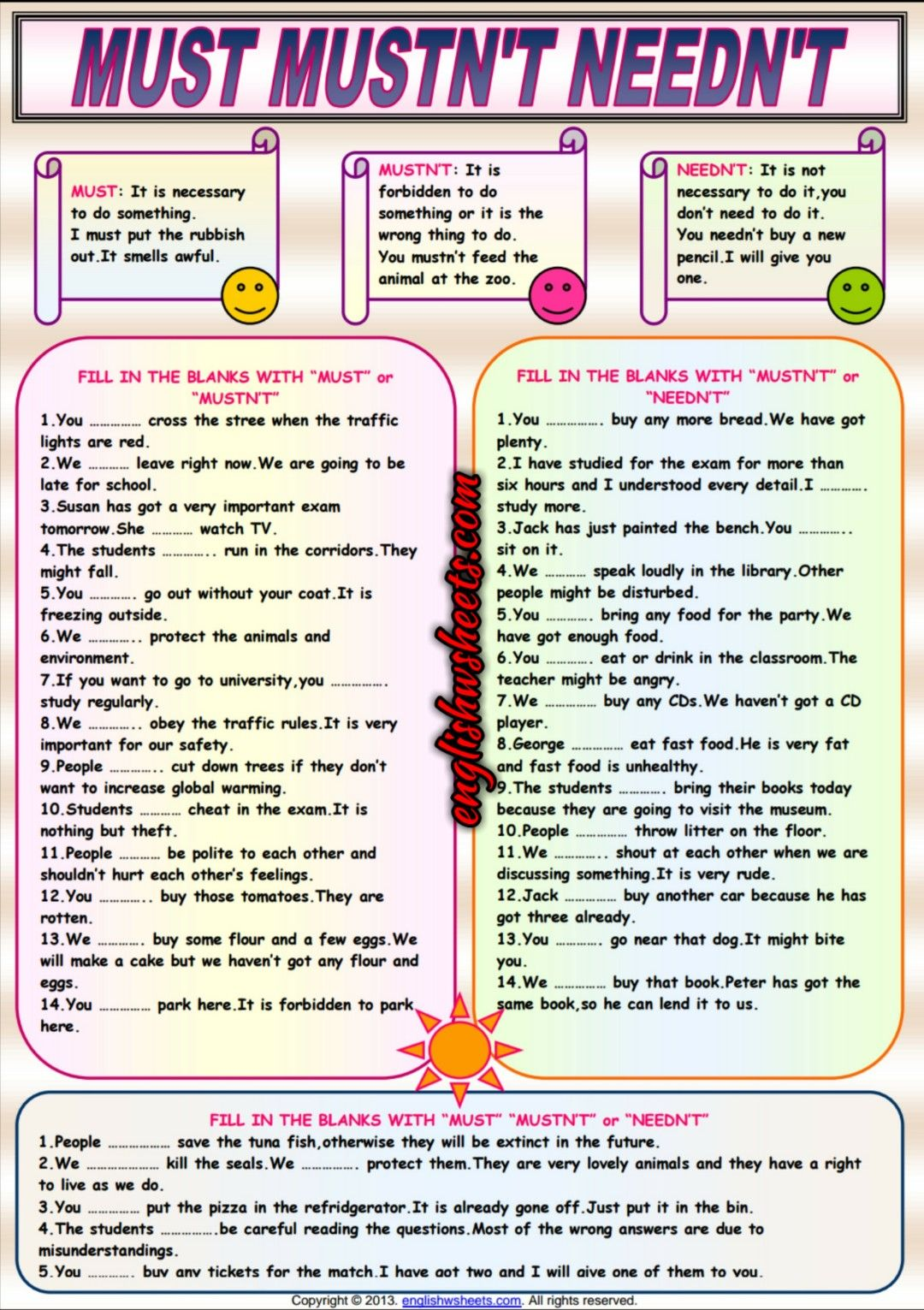 Auxiliary Verbs Must Mustn T Needn T Esl Worksheet