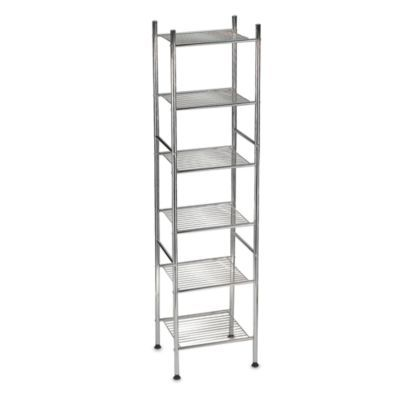 6-tier metal tower shelf in chrome | chrome, tower and shelves
