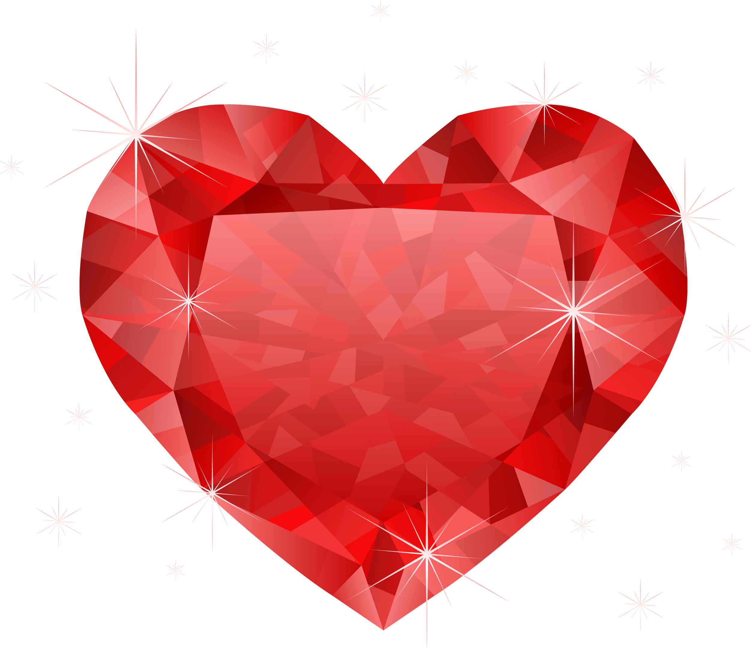 Large Transparent Diamond Red Heart PNG Clipart CLIPART