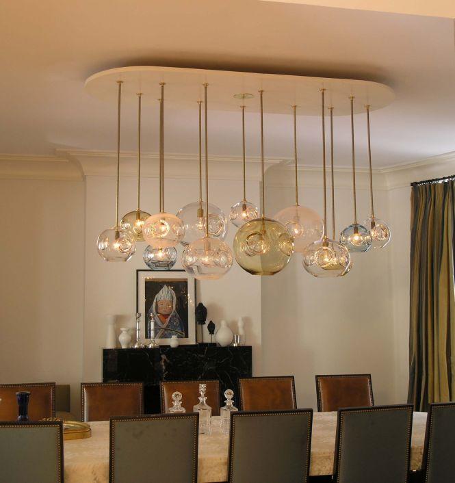 Creative Dining Room Lighting With Aqua Chandelier