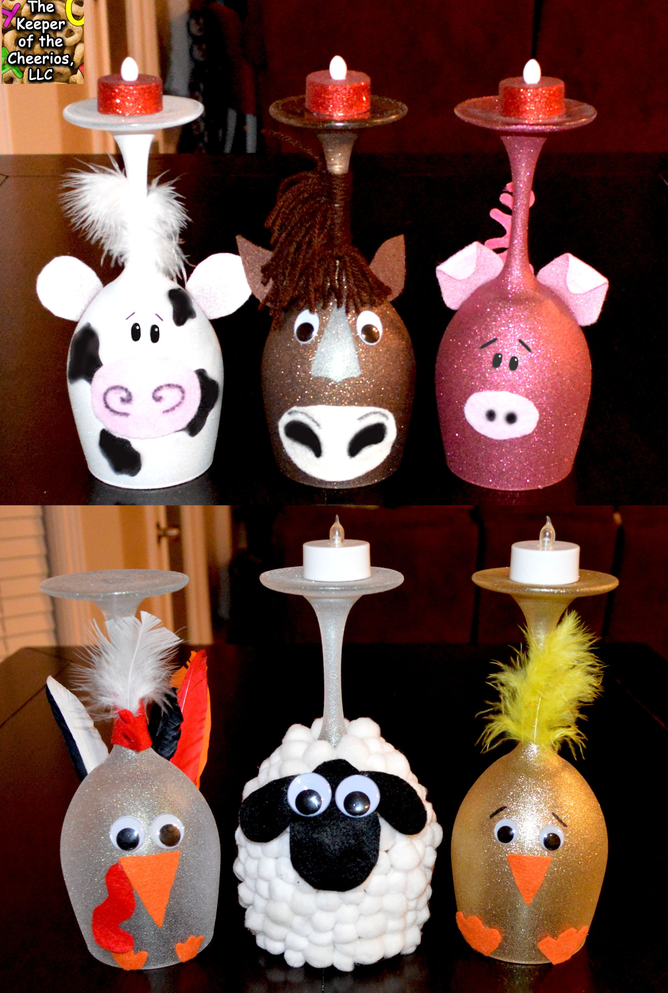 Farm Animal Wine Glass Candle Holders The Keeper of the