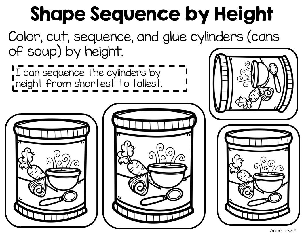 Sequence By Size 3 Dimensional Shapes 8 Cut And Glue Printables