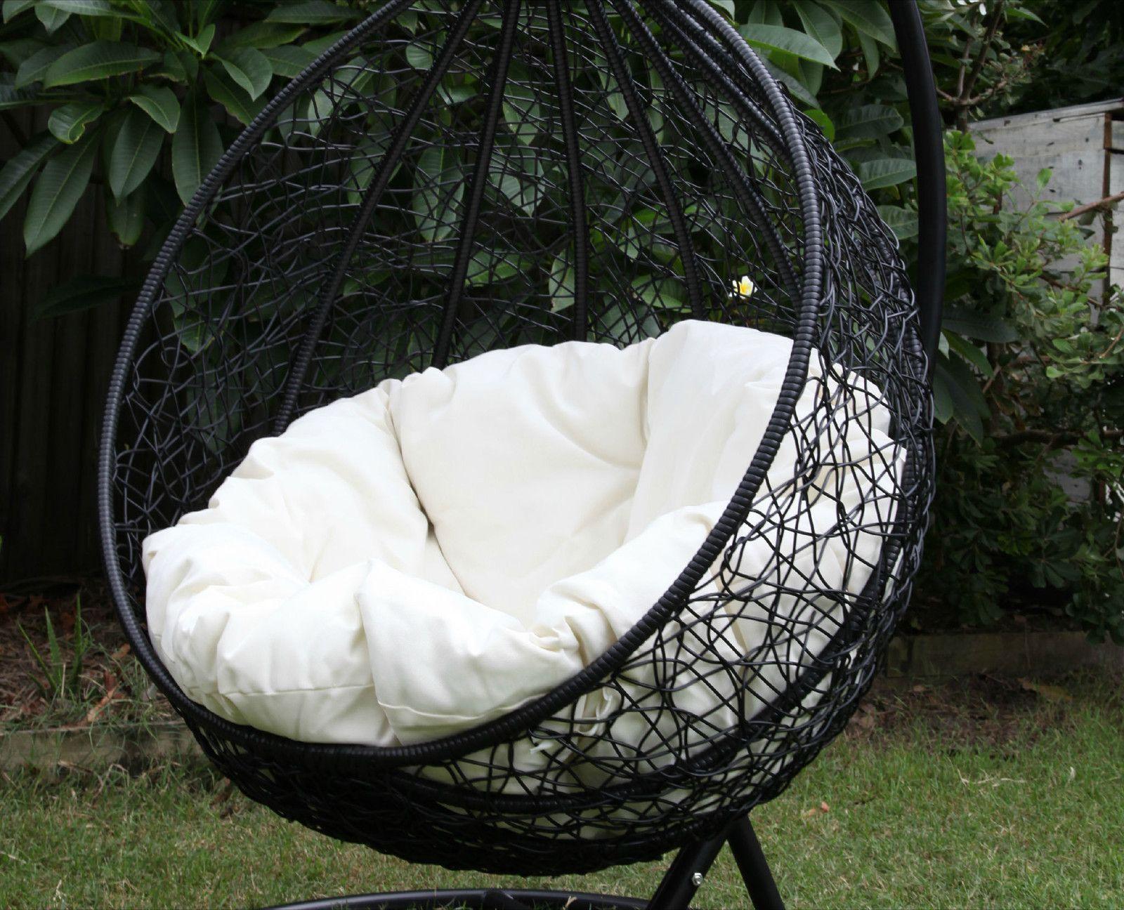 Skycarte Black Hanging Egg Chair with White Plush Cushion