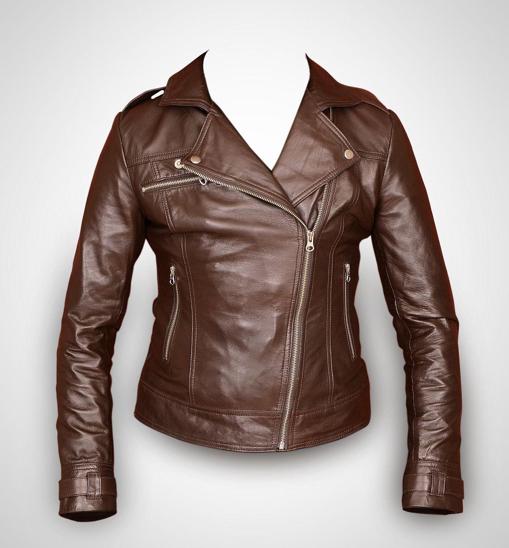 Brown leather jacket, women leather jacket , ladies