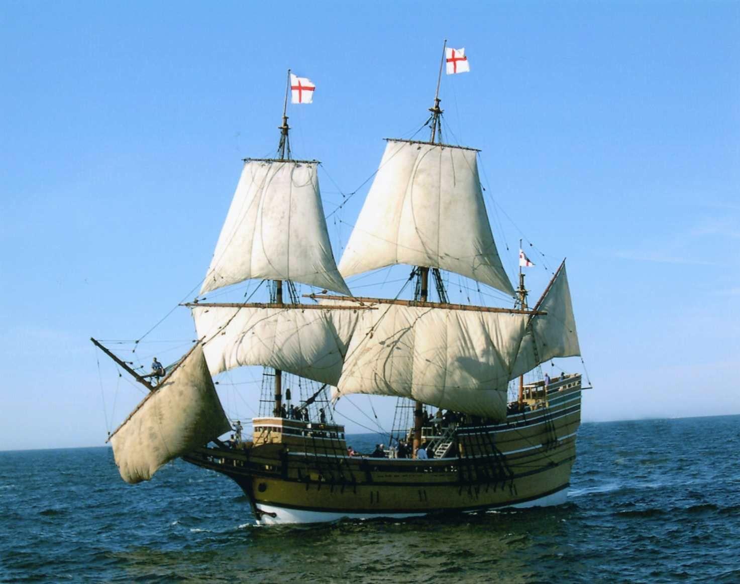 Mayflower replica Pilgrims landed in 1620. First