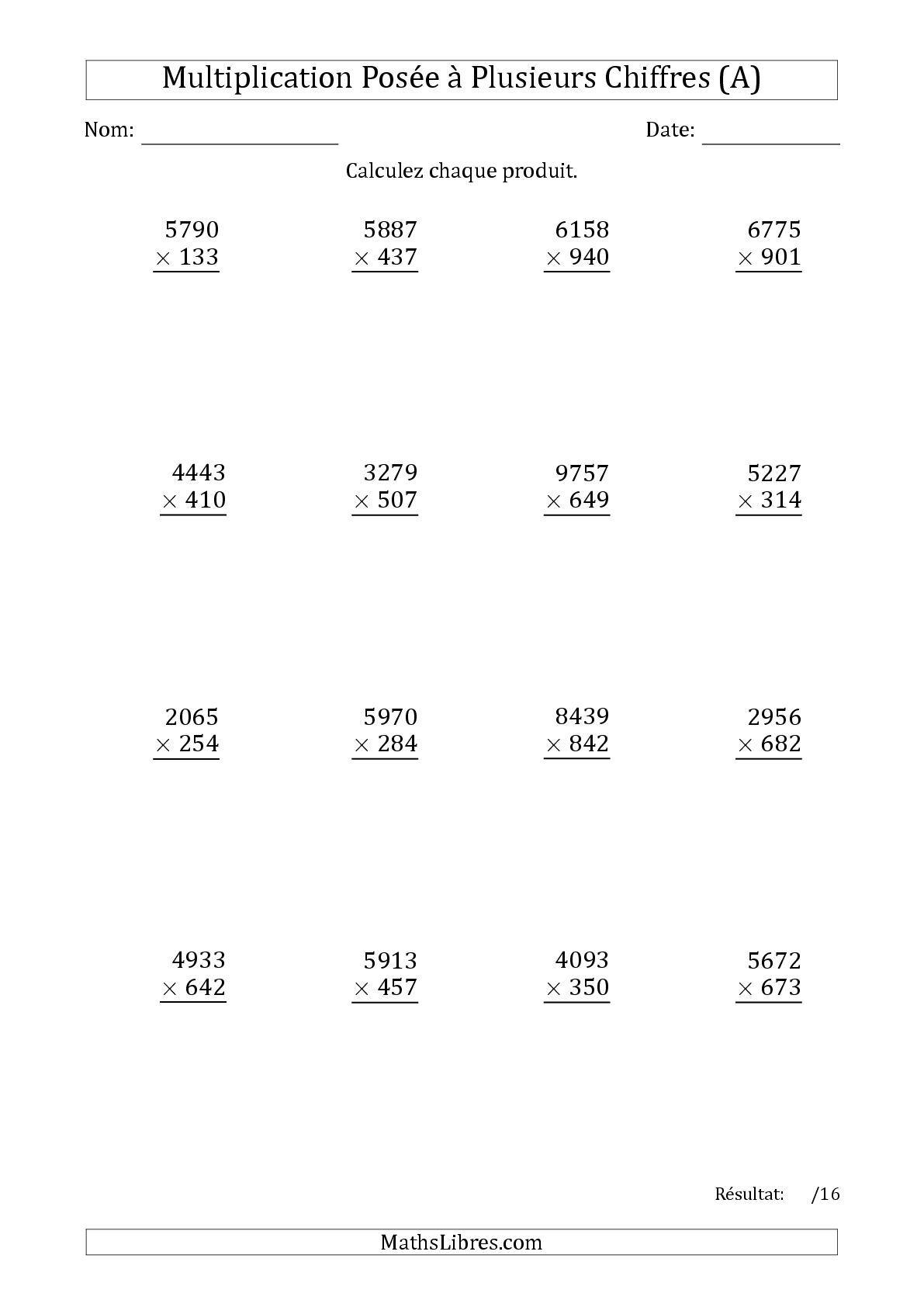 La Multiplication D Un Nombre A 4 Chiffres Par Un Nombre A 3 Chiffres A Fiche