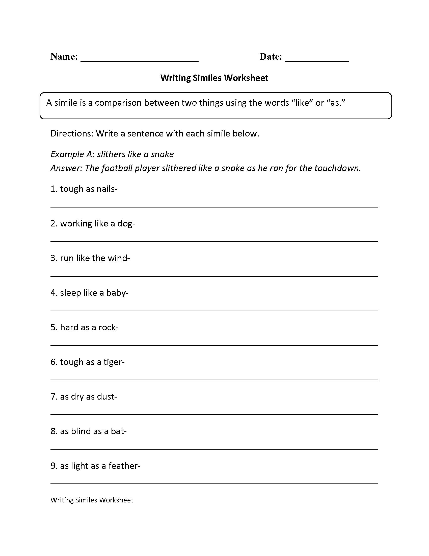 Writing Simile Worksheet