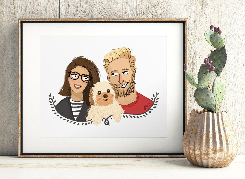 An illustrated custom portrait. Couple family pet portrait