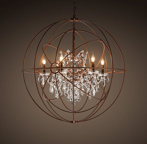 Foucault S Twin Orb Crystal Chandelier Rustic Iron From Rh Restorationhardware The Gyroscope Created By Experimental Physicist Léon Inspired
