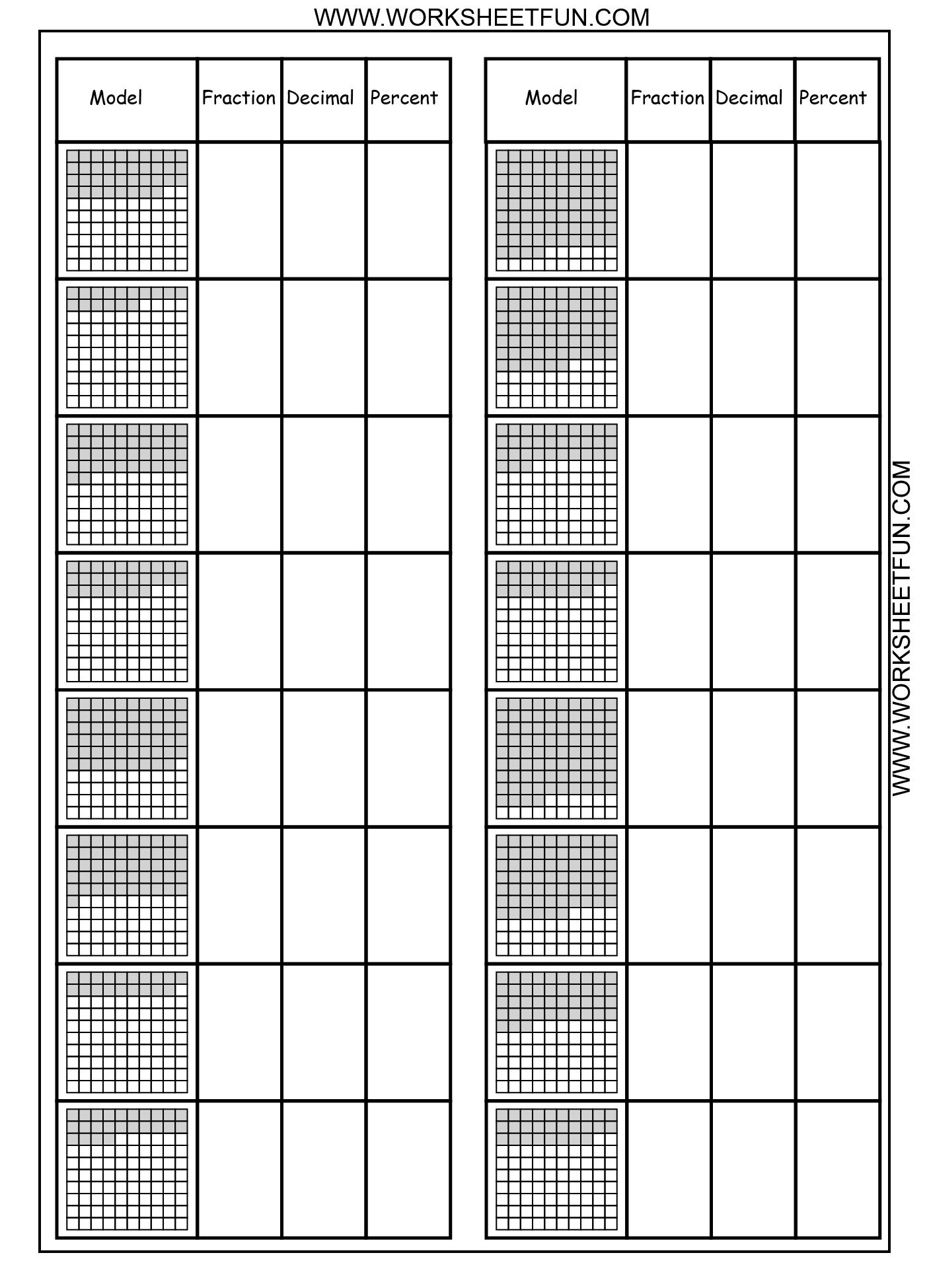 Convert Between Percents Fractions And Decimals 8 Worksheets
