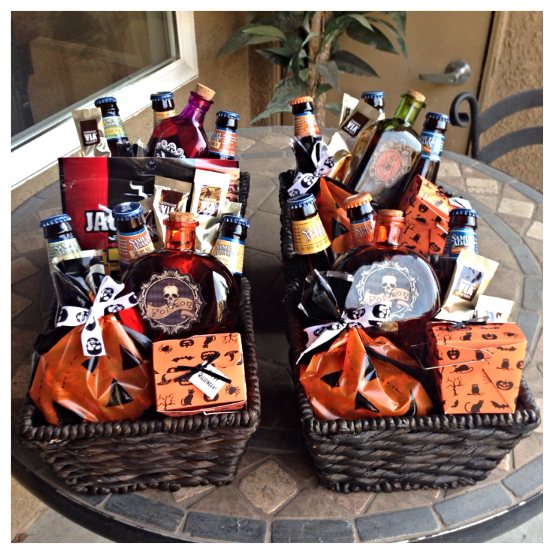 Halloween baskets I made for the guys. Samual Adams, Jim