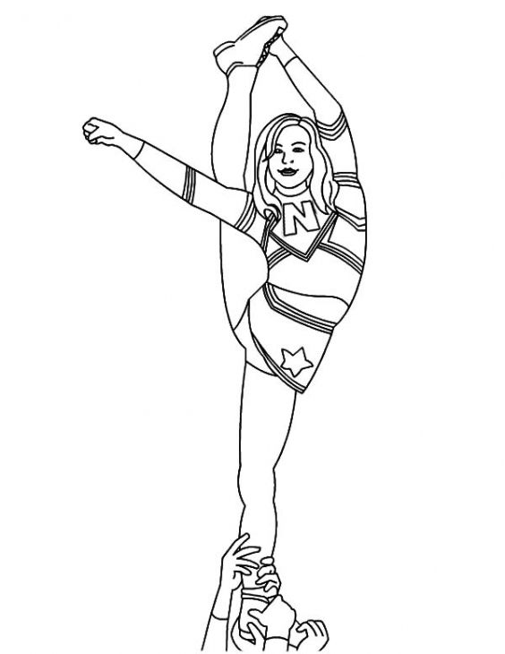 amazing cheerleader standing on one leg coloring page