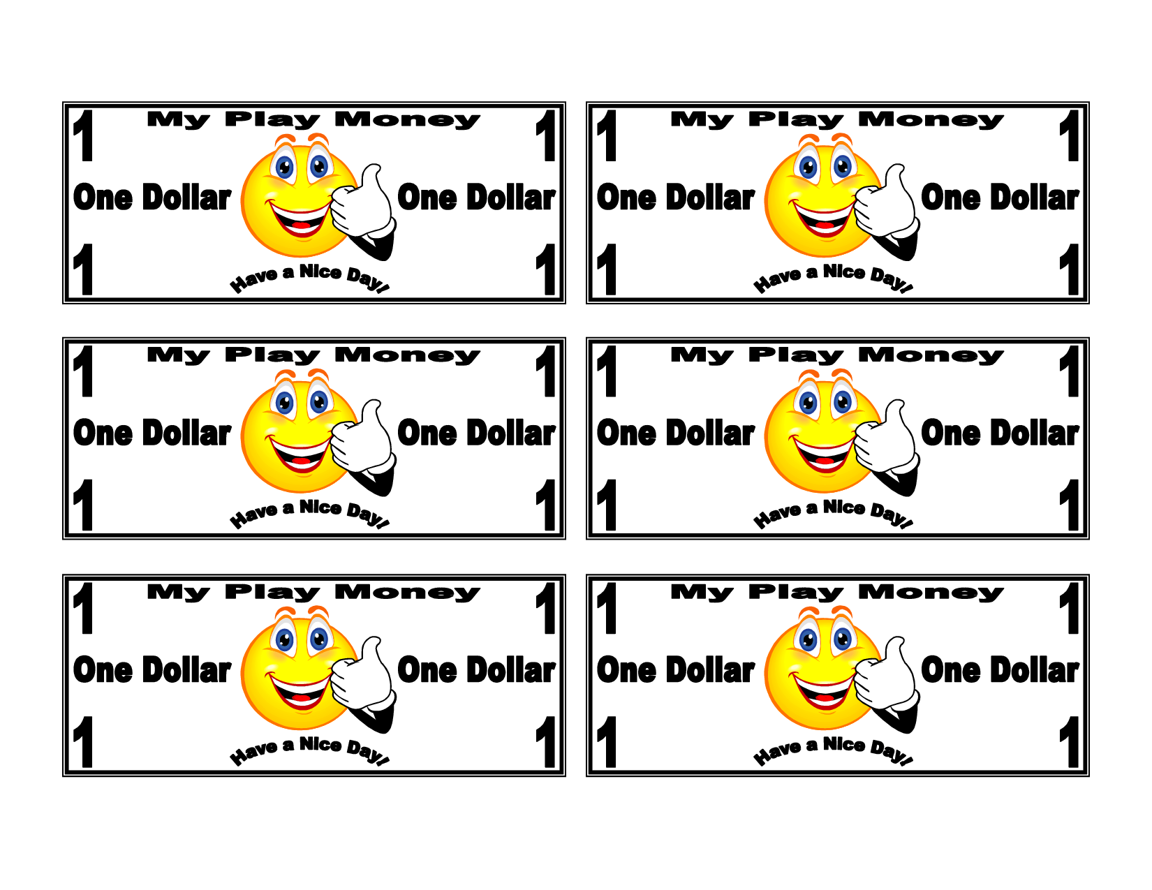 Kids Play Money Printable