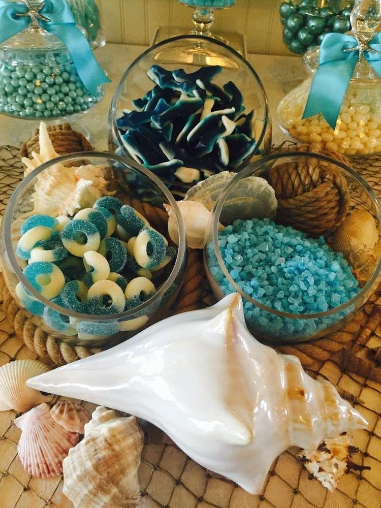 Beach Wedding Party Ideas Candy display, Beach themed