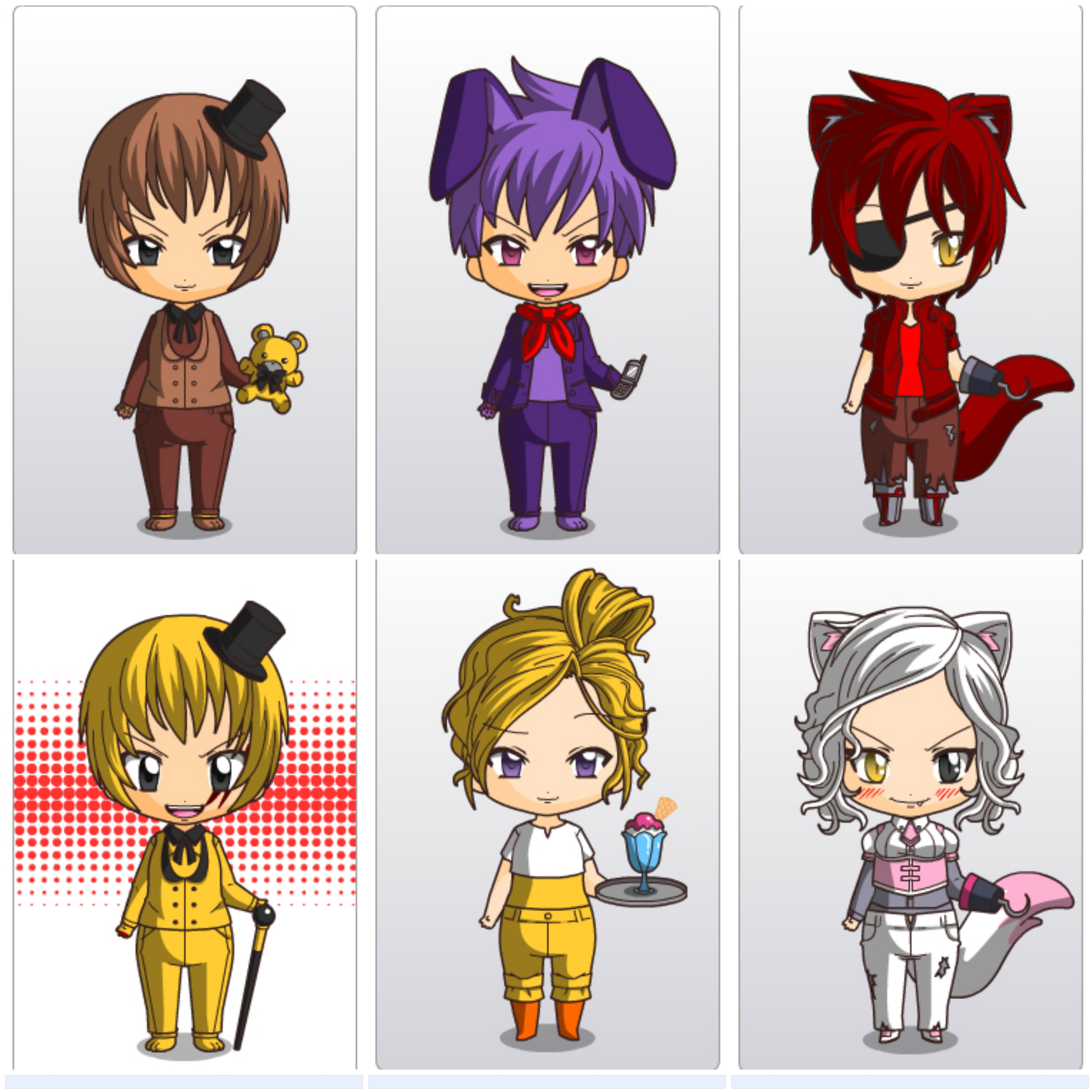 fnaf chibi remake on chibi maker by pinkwig12 Five Night