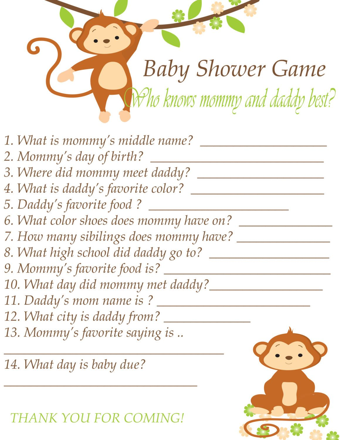 Baby Shower Game Printable Instant Download
