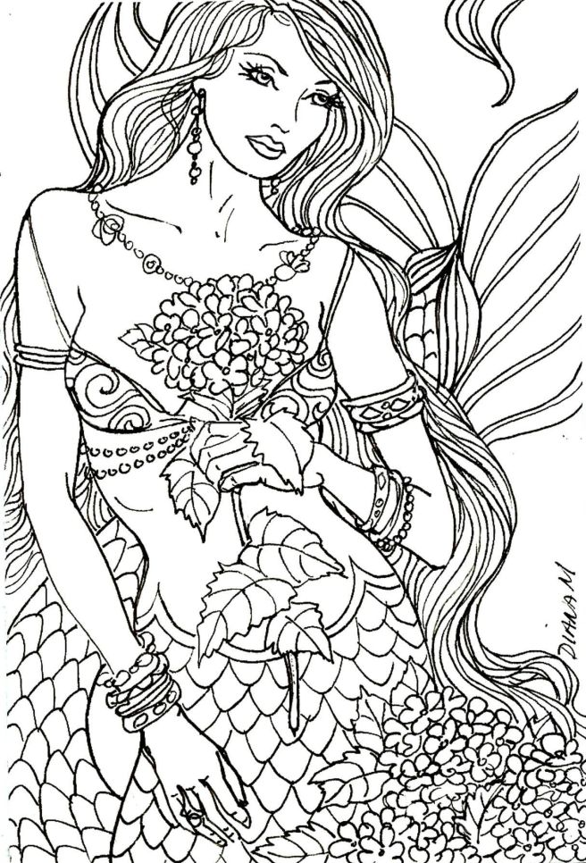 mermaid adult coloring colouring free page