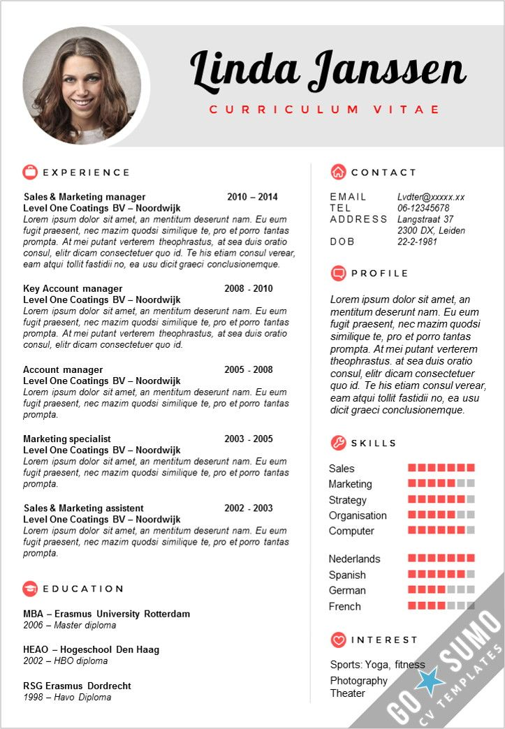 2 page CV / Resume template in Word & PowerPoint