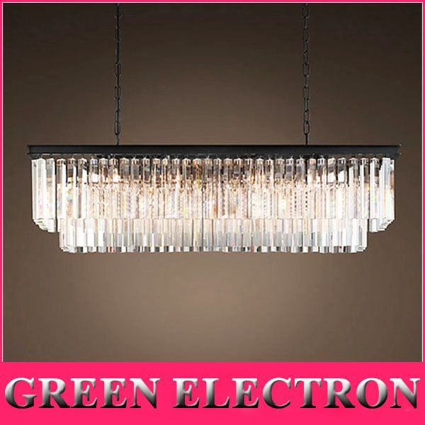 Jh American Country Crystal Chandelier Dining Room Creative Rectangular Pendant Lamp Led Lighting