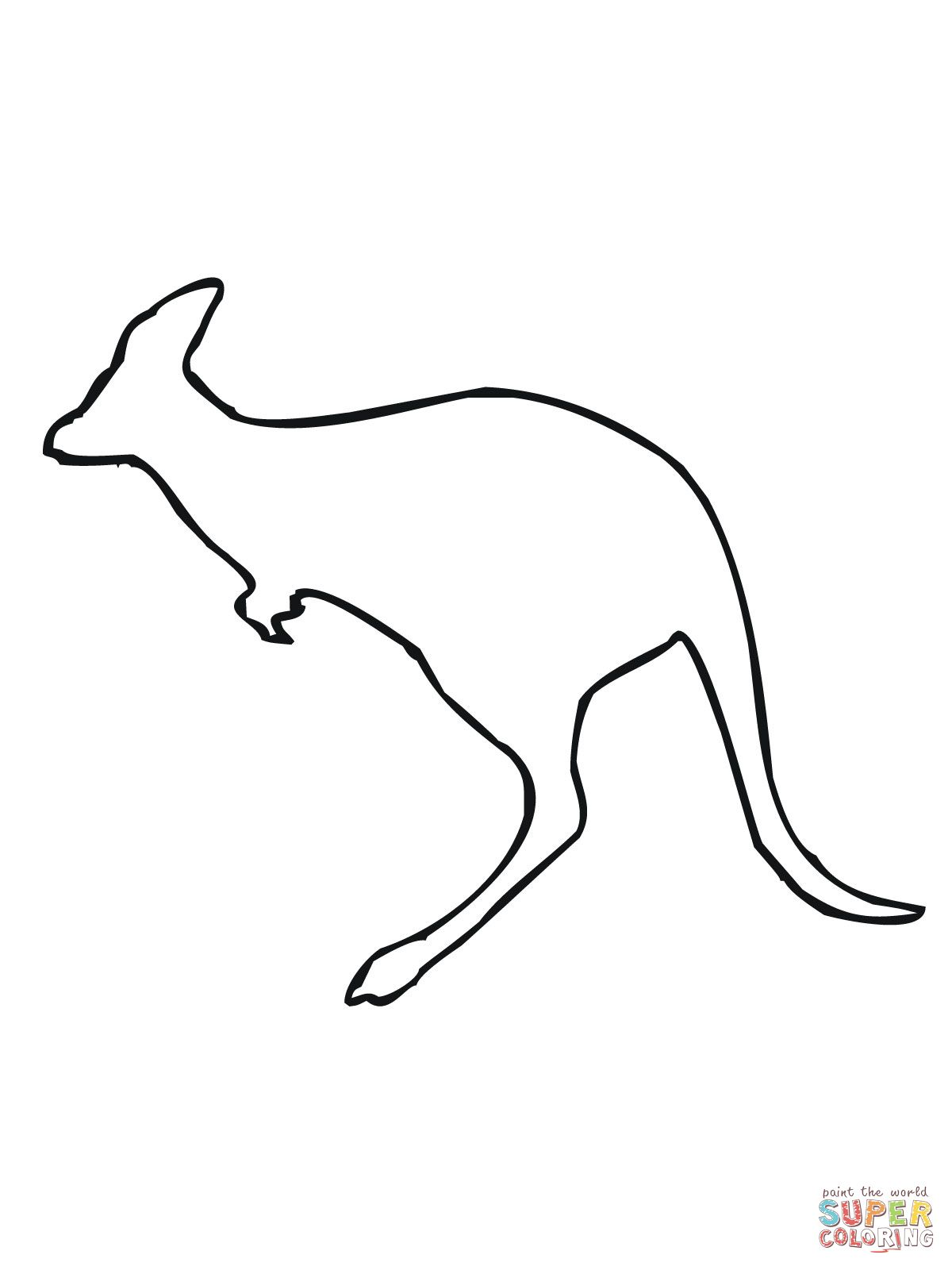 Leaping Kangaroo Outline Coloring Page