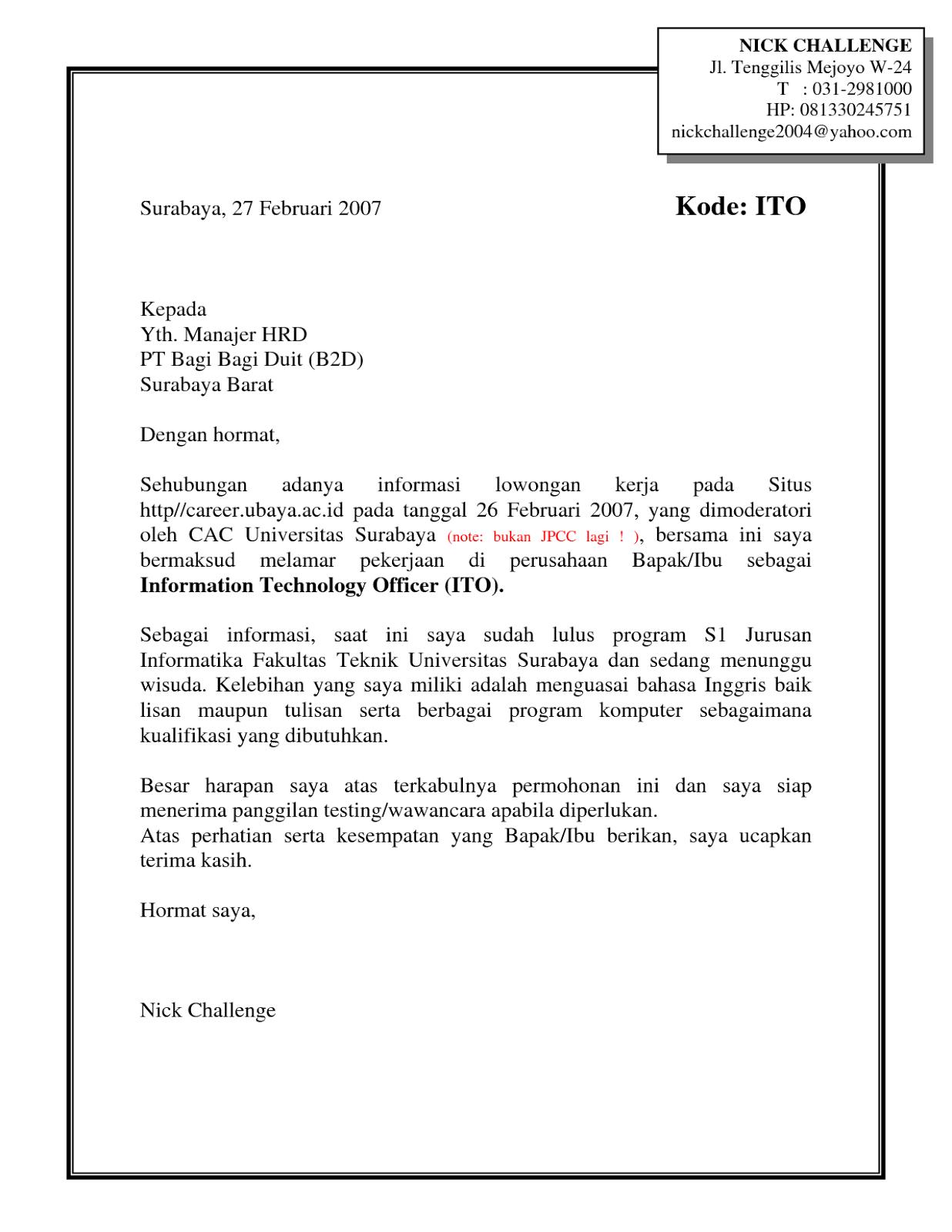 Contoh Surat Lamaran Kerja PDF ben jobs Contoh Lamaran