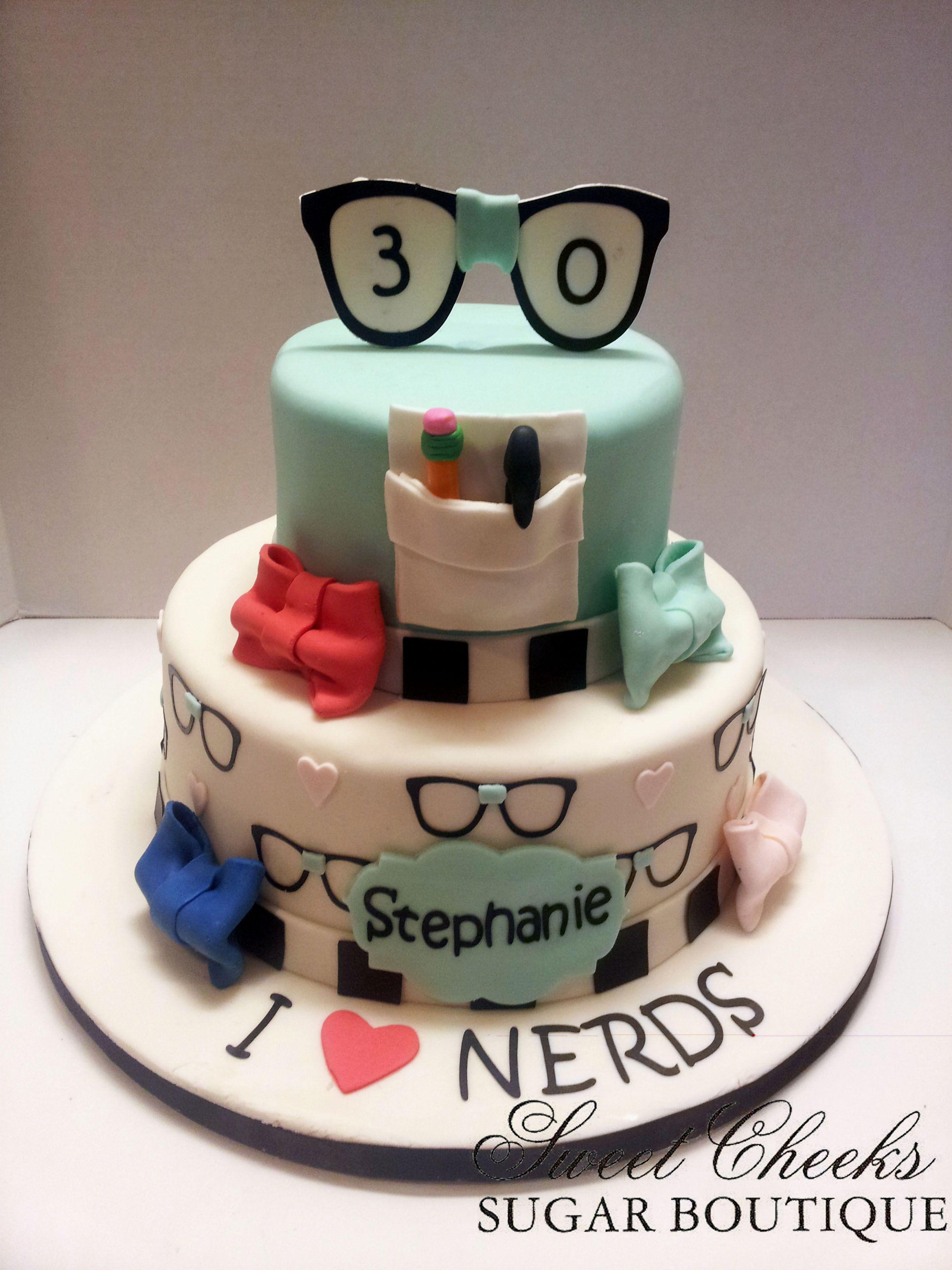 A Nerdy Thirty Themed Birthday Cake Sweet Cheeks Cakes