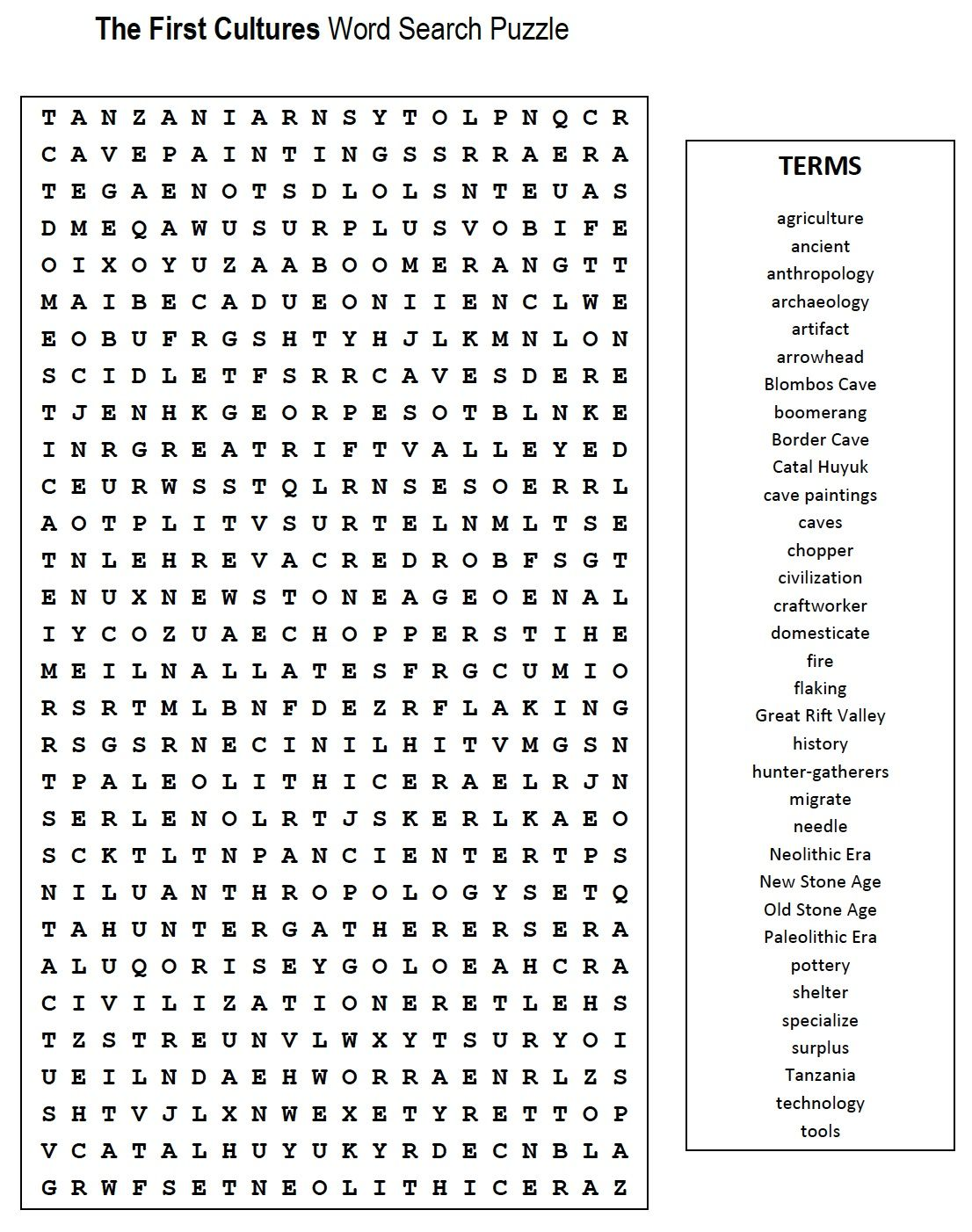 First Cultures Word Search