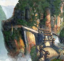 Image result for fantasy pictures of bridge over mountain