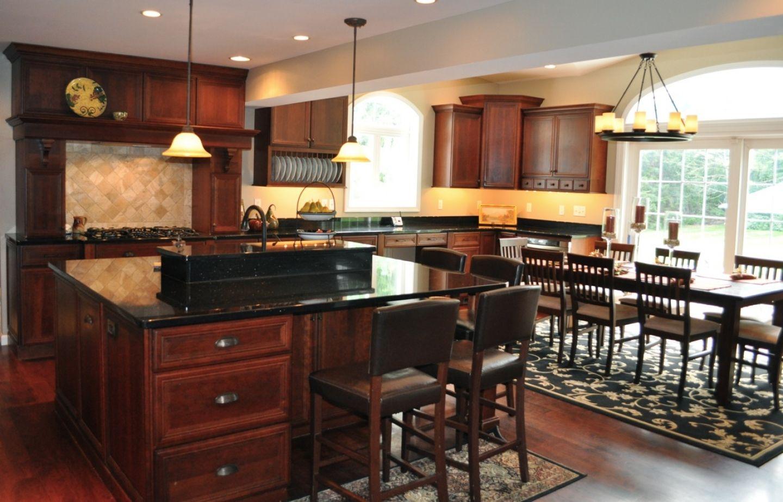 Kitchen With Black Granite Countertop Cherry